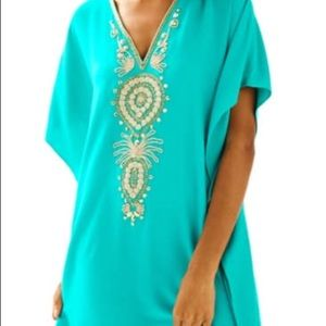 Lilly Pulitzer Chai Caftan with kimono sleeves.